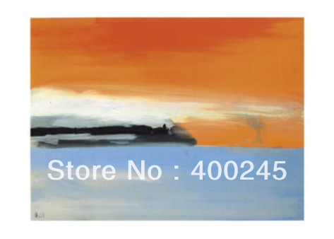 High quality Abstract art oil painting Hand painted Seaside Railway Line in the Setting Sun By Nicolas De Stael Free Shipping(China (Mainland))