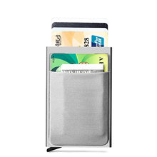 DIENQI Bank Credit Card Holder Sticker Purse Mini Slim Rfid Wallet Men Anti-theft Aluminium Box Money Bag Card Holder protectors(China)