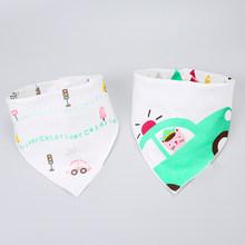 2 piezas de algodón bebé baberos Bandana doble capas de Saliva bufanda moda dibujo animado estampado bebé triángulo toalla para recién nacido Niño Niña DS19(China)