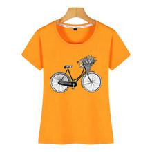 חולצות T חולצה נשים אופניים W פרח סל מצחיק לבן קצר נשי חולצה(China)