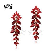 VEYO Römische Schild Form Kristall Ohrringe für Frauen Trendy aushöhlen Fan form Ohrringe Modeschmuck Geschenk(China)