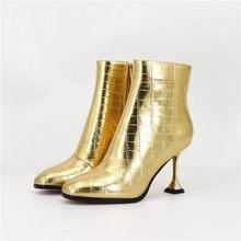 FEDONAS Neue Sexy Frauen High Heels Stiefeletten Gold Silber Prom Party Hochzeit Schuhe Frau Herbst Winter Kurze Stiefel Pumpen(China)