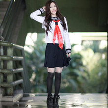 2 個ハイエンド JK 女の子日本韓国トップス + スカート + ネクタイスクール摩耗制服学生セーラーネックブラックホワイトスーツ C30153AD(China)