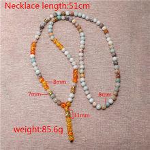 Mcllroy mens colares pingentes 8mm natural tiger eye stone beads buda colar cruz para mulheres feitas sob encomenda da jóia Mala 2019 presente(China)