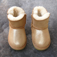 Yüksek kaliteli kadın kar botları koyun derisi deri ve koyun kürk bayan kış kayak tulumu ayakkabı(China)