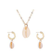 Bohemia Shell Perhiasan Set untuk Wanita Emas 2PC Sea Shell Liontin Anting-Anting Kalung Set Kostum BoHo Afrika Pernikahan Perhiasan(China)