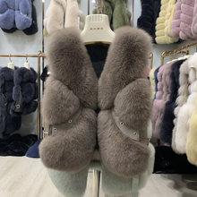 2020 court 100% réel gilet de fourrure de renard finlande gilet de fourrure veste femmes 2019 hiver nouveau gilet de fourrure 60cm de longueur(China)