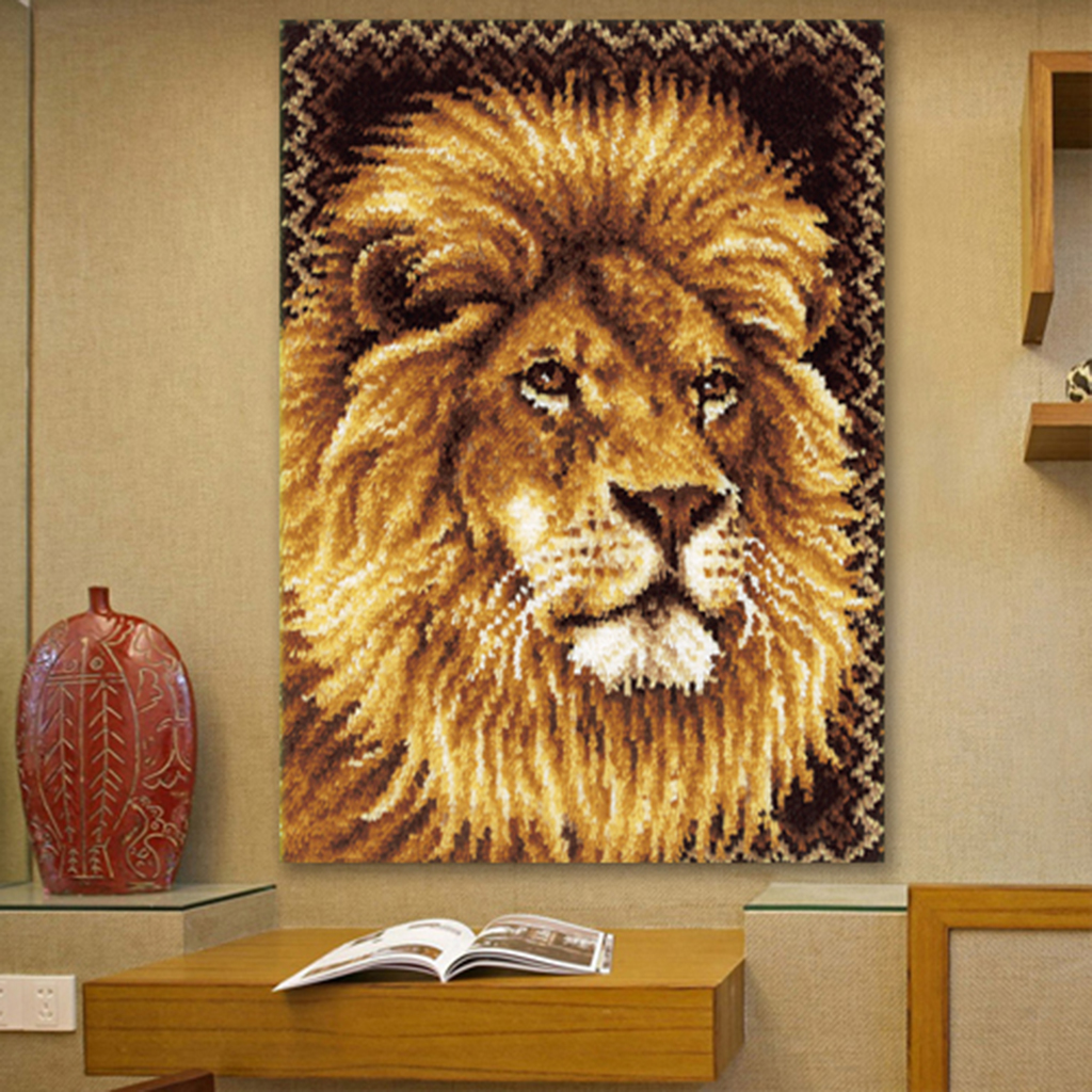 1 Set Latch Hook Rug Kit Cartoon Lion 3D Embroidery DIY Crocheting Yarn Cushion Mat DIY Thread Carpet Crafts Home Decor Handmade