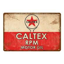 Texaco Benzin Metall Zeichen Caltex RPM Motor Öl Poster Wand Aufkleber Vintage Kunst Malerei Plaque Gas Station Shop Garage Decor(China)