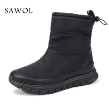 Nữ Mùa Đông Giày Size Lớn Cao Cấp Thương Hiệu Nữ Giày Nữ Sang Trọng Và Len Warmful Nữ Mùa Đông Giày Giữa Bắp Chân giày Sawol(China)