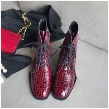 SUOJIALUN 2019 Kadın Sonbahar yarım çizmeler Katı Fermuar Vintage kısa çizmeler Moda Timsah Derisi Kadın Martin Çizmeler düz ayakkabı(China)