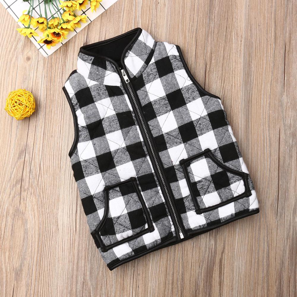 UK Toddler Kids Baby Girl Sleeveless Plaid Zipper Jacket Waistcoat Coat Outwear