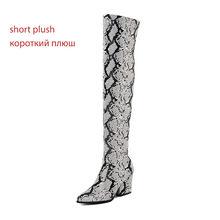 WETKISS Yüksek Topuklu Çizmeler Kadın Streç Renkli Yılan Derisi Pu Çizme Kadın Yuvarlak Ayak Diz Ayakkabı Bayanlar seksi ayakkabılar kış(China)
