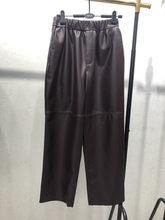 Женские брюки из 100% натуральной овечьей кожи, 2019 модные укороченные джинсы из натуральной овечьей кожи с эластичным поясом на талии(China)