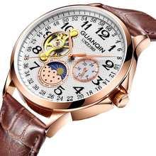 GUANQIN montre mécanique hommes étanche automatique squelette tourbillon horloge hommes d'affaires haut marque de luxe Relogio Masculino(China)