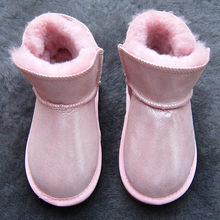 Bebek Kız Kar Boots Kış Avustralya Sıcak Koyun Derisi Deri Kürk Bebek Botas Su Geçirmez Bebek Önyükleme Erkek Bootie Ayakkabı Olmayan kaymaz(China)