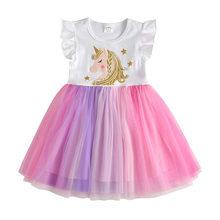 Платье-пачка для девочек DXTON, детское платье на свадьбу, день рождения, костюм единорога, детская одежда, лето 2020, От 3 до 8 лет(China)