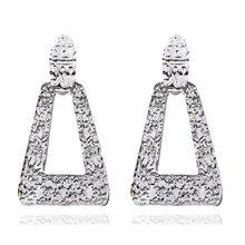 Vintage Metal ZA Earrings Gold/Silver Big Size Heart Pendant Statement Dangle Earrings For Women Retro Indian Jewelry Wholesale(China)