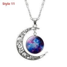 KISSWIFE الأزياء قلادة الزجاج غالاكسي جميل قلادة الفضة سلسلة القمر قلادة مجوهرات الكونية سحر قلادة مجوهرات ل هدية(China)