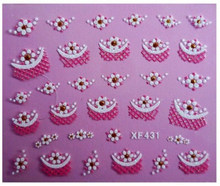 3D เล็บ Decals สำหรับผู้หญิงเล็บมือตกแต่งเล็บอุปกรณ์เสริมเล็บสติกเกอร์ดอกไม้ Flamingo Charms เคล็ดลับ(China)