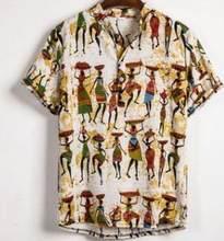 Bohême nouvelle impression hommes Harajuku Blouse été col montant chemise hawaïenne à manches courtes en vrac Henley chemise décontracté plage Streetwear(China)