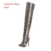 WETKISS Yılan Derisi Pu Çizmeler Kadın Diz Boot Over Kadın Yüksek Topuklu Ayakkabı Bayanlar Sivri Burun Ayakkabı Kış Artı boyutu 48(China)