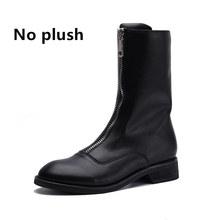 KATELVADI hiver bottes courtes talons carrés fermeture éclair avant courte doublure en peluche mode cuir synthétique polyuréthane noir bottines chaussures femme K-519(China)