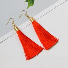 בוהמי טאסל Drop עגילים לנשים נשי אופנה 15 צבעים אתני ארוך אדום שחור פרינג 'להתנדנד עגיל 2019 תכשיטים(China)
