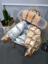 2019 зимняя женская куртка с натуральным мехом, Воротник из натурального Лисьего меха, свободное короткое пальто, серебристый белый пуховик н...(China)