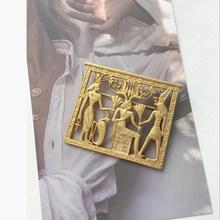 Aomu 2020 Baru Fashion Cermin Hati Bentuk Logam Bros Mutiara Pin Vintage Mesir Potret Warna Emas Bros untuk Wanita Perhiasan(China)