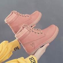 Ayakkabı kadın kar botları 2019 yeni rahat ayakkabılar kadın sonbahar kış yarım çizmeler kadınlar katı dantel-up bayanlar ayakkabı martin patik(China)