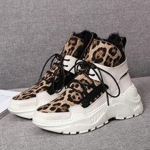 DORATASIA Neue Damen Marke Winter Mode Leopard Split Leder Stiefel Frauen 2019 Warme Plattform Pelz Stiefel Keile Schuhe Frau(China)