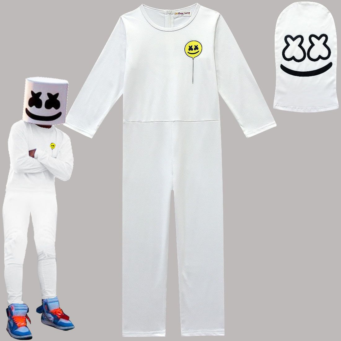 Kids Boys Marshmallow Long Sleeve Hoodie Outfit Set Cosplay Costume Fancy Dress