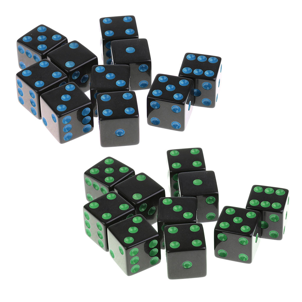 SET 16 WOODEN COLOURED DICE 16mm Six Sided D6 UK Game Board Spot RPG Spare A20