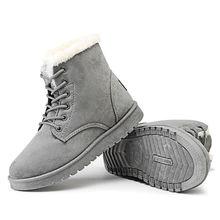 Kış çizmeler kadın ayakkabıları kadın sıcak kürk peluş astarı süet kış kadın bot ayakkabı kadın dantel-up ayak bileği kar botları bayanlar ayakkabı(China)