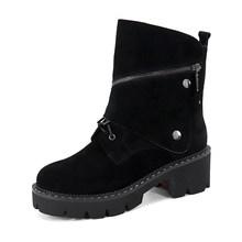 SOPHITINA Neue Metall Dekoration Stiefel Hohe Qualität Echtes Leder Komfortable Runde Kappe Schuhe Platz Ferse Frauen Stiefel MC390(China)