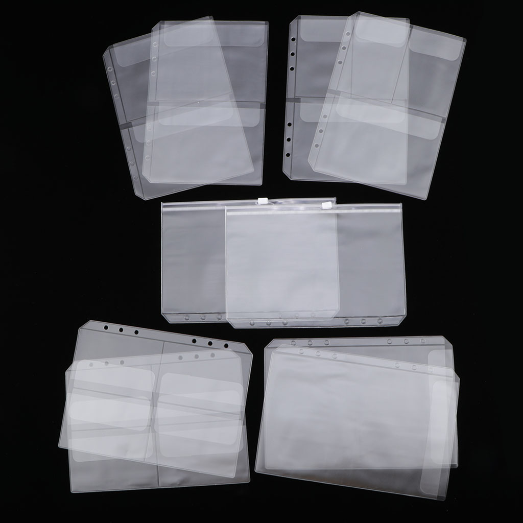 10 Pack A5 Binder Pocket with 6 Holes Binder Sleeves PVC Document Filling Bags Binder Folders - Fit for 6 Rings Notebook