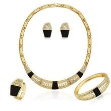 קריסטל הודו אפריקה נשים כלה תכשיטי סטי דובאי זהב צבע נשים תכשיטי סט לחתונה S4080(China)