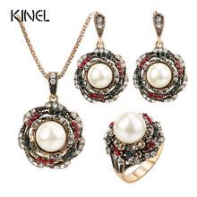 Kinel 3Pcs Vintage חיקוי פניני תכשיטי סטים לנשים עתיק זהב קריסטל חתונת שרשרת עגילי טבעת תכשיטים תורכי(China)