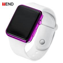 Mode hommes montre femmes sport décontracté Bracelet montres blanc LED électronique numérique bonbons couleur Silicone montre-Bracelet enfants(China)