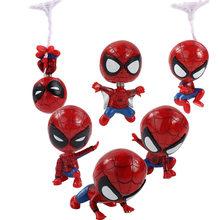 6-8cm 6 pçs/set Infinito Guerra de Super-heróis Vingadores Q Versão Mini Spiderman Action Figure PVC Modelo Brinquedos Colecionáveis presentes boneca(China)