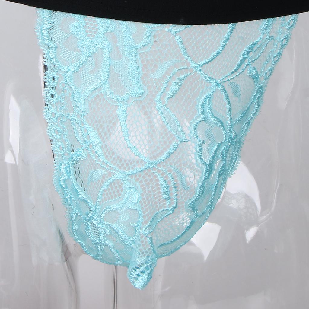 Men's Sheer Lace Thongs G String Sissy Pouch Panties Sheer Mesh T-back Underwear Lingerie Bikinis Underpants Men's Briefs
