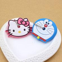 2PCS bonito Dos Desenhos Animados Anime chaveiro tampa chave tampa do teclado de Silicone mulheres olá kitty Minnie Anel chave Chaveiro carro proteger porte clef(China)