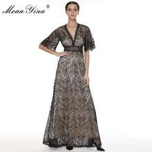 MoaaYina moda tasarımcısı elbise İlkbahar yaz kadın elbise v yaka parlama kollu dantel kesik dekolte seksi parti Maxi elbiseler(China)