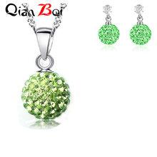QianBei מכירה לוהטת 13 צבע 10MM תליון שרשרת עגילי כדור קריסטל עגיל שרשרת סט לנשים תכשיטים מתנות(China)