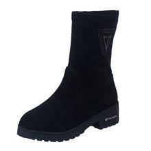 Rahat bayan botları bayan moda sonbahar kış sıcak düz orta buzağı platformları kalın topuklu çizmeler bayan ayakkabı şişeler femme(China)