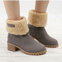 Frauen Stiefeletten Winter Pelz Warme Schnee Stiefel Damen Klobigen High Heels Mode Plus Größe Plüsch Slip Auf Bequeme Schuhe drop(China)