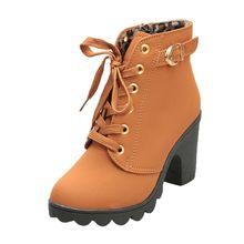 Kışlık botlar kadın moda yüksek topuk ayak bileği bağcığı botları bayan toka platformu yüksek topuklu ayakkabı botları Bota Feminina 7(China)