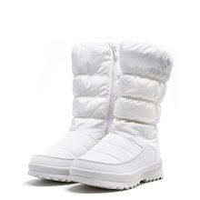 MORAZORA Große größe 36-41 Neue warme schnee stiefel frauen zipper plattform stiefel einfarbig wasserdichte mittlere waden dicke pelz winter stiefel(China)
