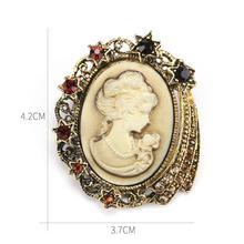 Vendita Diretta della fabbrica Assortiti Stili Rhinestones di Cristallo Del Cammeo Dell'annata Spilla Spilli per Le Donne in Oro Antico/Argento Colori(China)